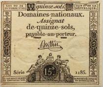 France 15 Sols Liberté et Droit (23-05-1793) - Sign. Buttin - Série 1185 - PSUP