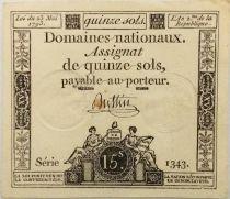 France 15 Sols Liberté et Droit (23-05-1793) - Sign. Buttin - Série 1343 - SUP