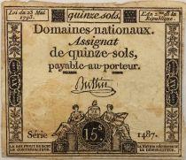 France 15 Sols Liberté et Droit (23-05-1793) - Sign. Buttin - Série 1487 - TB