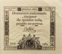 France 15 Sols Liberté et Droit (23-05-1793) - Sign. Buttin - Série 1489 - SUP+