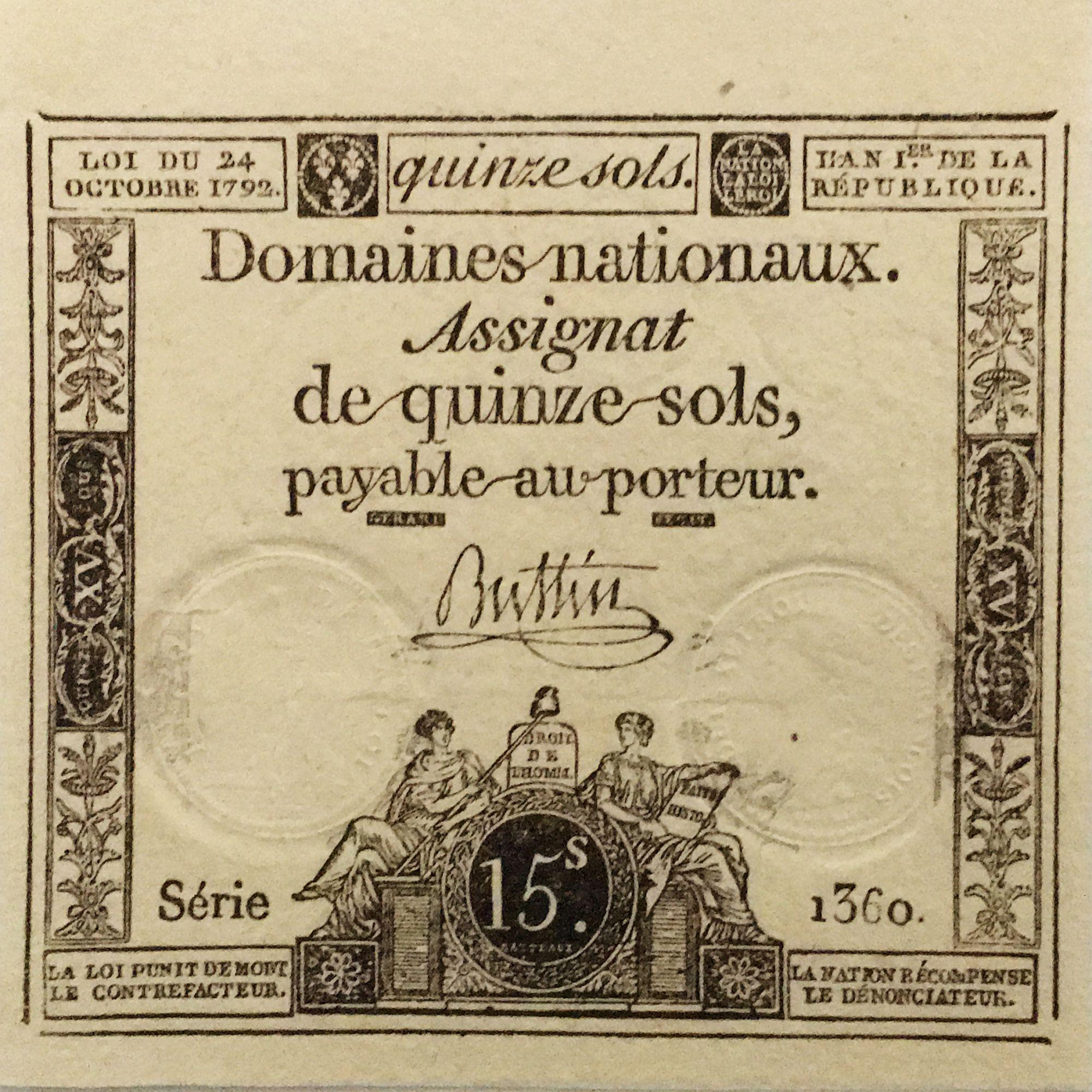 France 15 Sols Liberté et Droit (24-10-1792) - Sign. Buttin - Série 1360 - P.NEUF