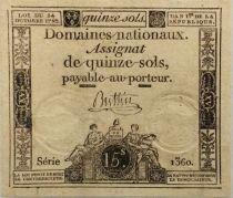 France 15 Sols Liberté et Droit (24-10-1792) - Sign. Buttin - Série 1360 - SUP