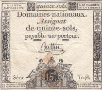 France 15 Sols Liberté et Droit 04-01-1792 Série 1046