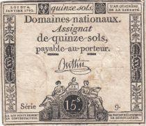 France 15 Sols Liberté et Droit 04-01-1792 Série 9