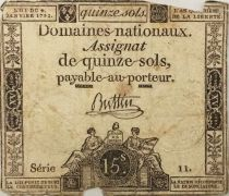 France 15 Sols Liberty and Justice (04-04-1792) - Sign. Buttin - Serial 11 - G