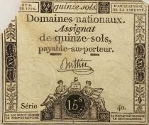 France 15 Sols Liberty and Justice (04-04-1792) - Sign. Buttin - Serial 40 - G