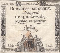 France 15 Sols Liberty and Justice 1792 - Serial 1046