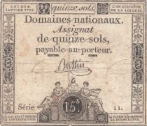 France 15 Sols Liberty and Justice 1792 - Serial 11