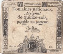 France 15 Sols Liberty and Justice 1792 - Serial 12