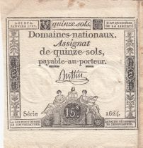 France 15 Sols Liberty and Justice 1792 - Serial 1624