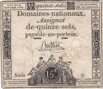 France 15 Sols Liberty and Justice 1792 - Serial 9