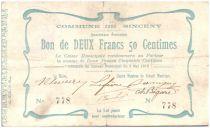 France 2,50 F Sinceny City - 1915