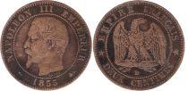 France 2 Centimes  Napoléon III Tête nue - D Lyon 1855