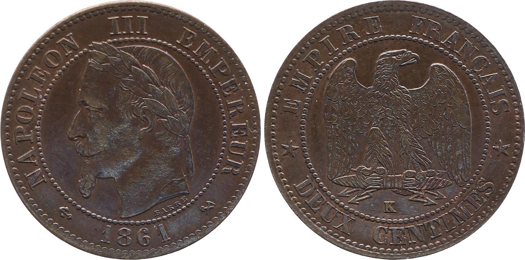 France 2 Centimes Napoléon III - Tête Laurée -1861 K Bordeaux - SUP