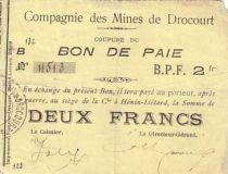 France 2 F Drocourt Cie. des mines Bon de paie