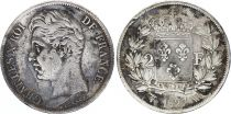 France 2 Franc Charles X - 1827 W Lille Silver