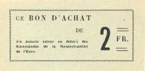 France 2 Francs - Bon des Kommandos de la Reconstruction de l\'Eure - SPL