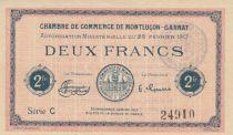 France 2 Francs - Chambre de Commerce de Montluçon-Gannat 1917 - P.NEUF