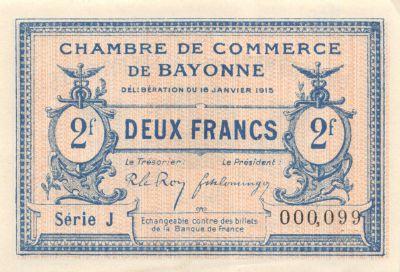 Billet france 2 francs chambre de commerce de bayonne - Chambre du commerce bayonne ...
