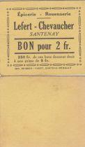 France 2 Francs - Lefert - Chevaucher - 1914-1918 - Santenay