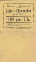 France 2 Francs - Lefert - Chevaucher - 1914-1918 - Santenay