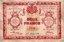 France 2 Francs - Rouen Chamber of Commerce 1916 - F to VF