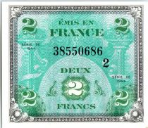 France 2 Francs Allied Military Currency - Falg - 1944 Serial 2
