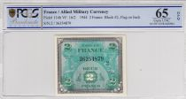 France 2 Francs Allied Military Currency - Falg - 1944 Serial 2 PCGS 65 OPQ