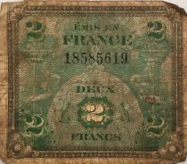 France 2 Francs Allied Military Currency - Flag - 1944 - G