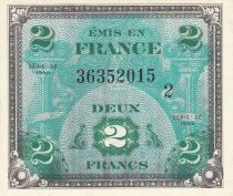 France 2 Francs Allied Military Currency - Flag - 1944 - Serial 2