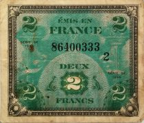 France 2 Francs Allied Military Currency - Flag - 1944 Serial 2 - F