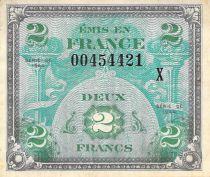 France 2 Francs Allied Military Currency - Flag - 1944 X Serial - VF