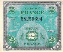 France 2 Francs Allied Military Currency (Flag) - 1944 No Serial - aUNC