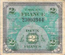 France 2 Francs Allied Military Currency (Flag) - 1944 No Serial - F+