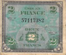 France 2 Francs Allied Military Currency (Flag) - 1944 No Serial - F