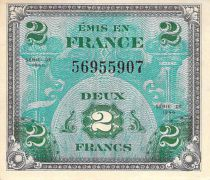 France 2 Francs Allied Military Currency (Flag) - 1944 No Serial - VF+