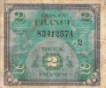 France 2 Francs Allied Military Currency (Flag) - 1944 Serial 2 - F