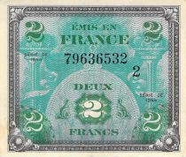 France 2 Francs Allied Military Currency (Flag) - 1944 Serial 2 - VF+
