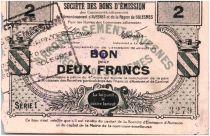 France 2 Francs Avesnes Et Solesmes Sans cachet émetteur