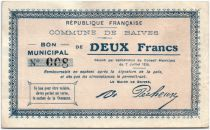 France 2 Francs Baives Commune - 1915