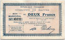 France 2 Francs Baives Commune - 1915