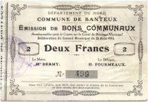 France 2 Francs Banteux City - 1915
