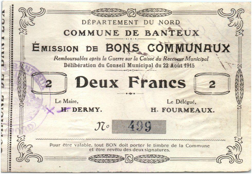 France 2 Francs Banteux Commune - 1915