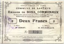 France 2 Francs Banteux Commune - 1915
