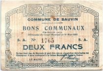 France 2 Francs Bauvin Commune - 1915