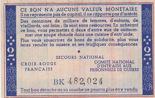 France 2 Francs Bon de Solidarité Pétain - Bol de Soupe 1941-1942 - Neuf - Série BK