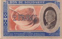 France 2 Francs Bon de Solidarité Pétain - Bol de Soupe 1941-1942 - p.NEUF - Série BI