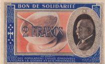 France 2 Francs Bon de Solidarité Pétain - Bol de Soupe 1941-1942 - VF - Série BA