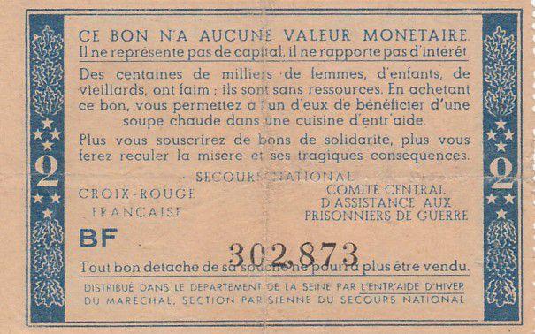 France 2 Francs Bon de Solidarité Pétain - Bol de Soupe 1941-1942 - VF - Série BF
