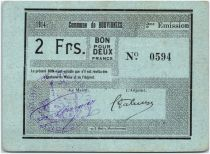 France 2 Francs Bouvignies Commune - 1914